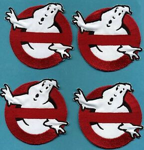 Set-of-4-CHILD-sized-Iron-on-Ghostbusters-No-Ghost-Embroidered-Patches