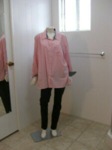 Tommy-Hilfiger-Women-Pink-Polka-Dot-Button-Down-Shirt-Size-1X-Long-Sleeves
