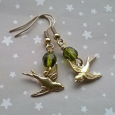 Vintage Style Gold Brass Swallow Bird & Olive Green Czech Glass Drop Earrings