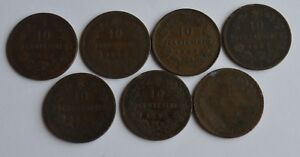 1862-63-67-93-Italy-10-Centesimi-Coins-7-Coins