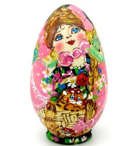 Russa Small Rosa Uovo di nidificazione bambole Matryoshka Pirografia 3 MAMAYEVA Firmata Art