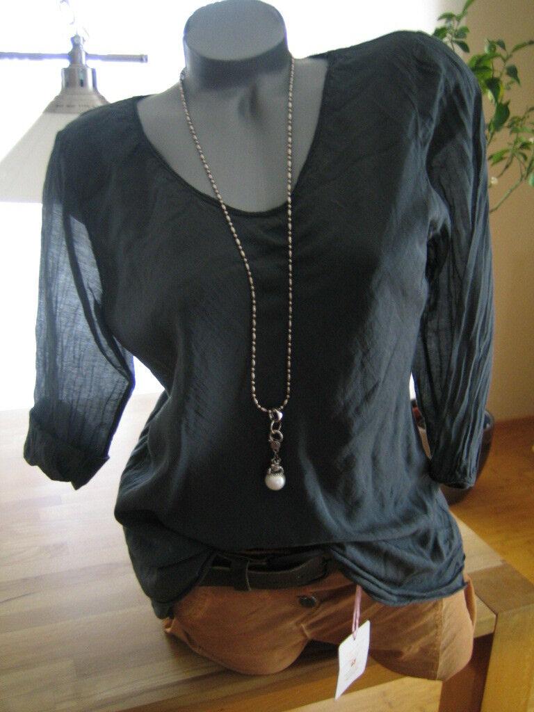 Tunika Blause Shirt Top Damen 40 Seide&Cotton anthrazit leger Blogger  Neu