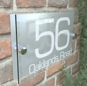 0a860c2172fc Modern HOUSE SIGNS / PLAQUE / DOOR / NUMBERS / GLASS EFFECT ACRYLIC ...