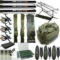 Carp Fishing Starter Set Up 3 Rods 3 Reels Bag Alarms Bag Tackle Box 3+3 Holdall