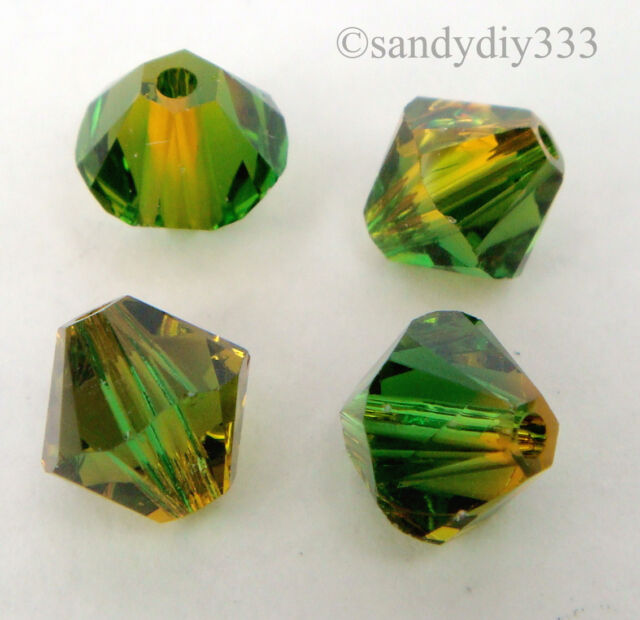 24x SWAROVSKI 5328 Fern Green - Topaz Blend 6mm BICONE XILION CRYSTAL BEAD