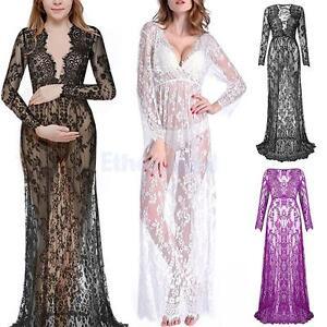 V-Ausschnitt-Schwangere-damen-Spitze-mode-lange-Huelsen-reizvolle-Abendkleid