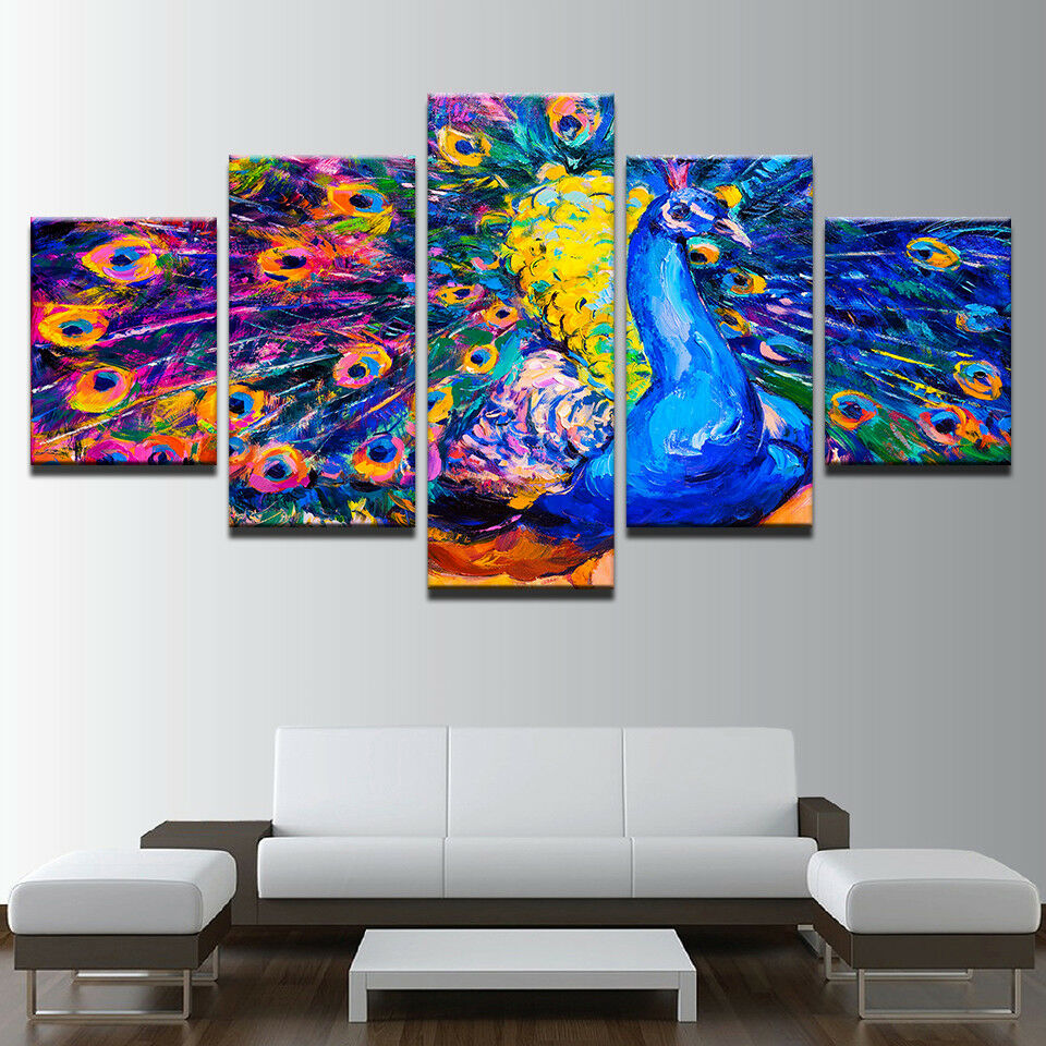 Peafowl Wings Feathers Bird 5 Piece Canvas Print Wall Art