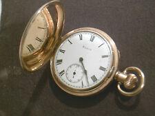 Reloj De Bolsillo Antiguo Elgin 10K Chapado en Oro Cazador Completo