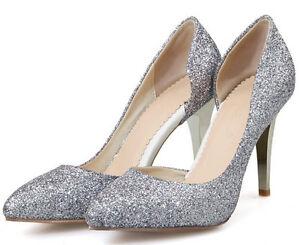 Décollte Zapatos de salón mujer talón perno 9 cm tacón aguja strass plata 9185