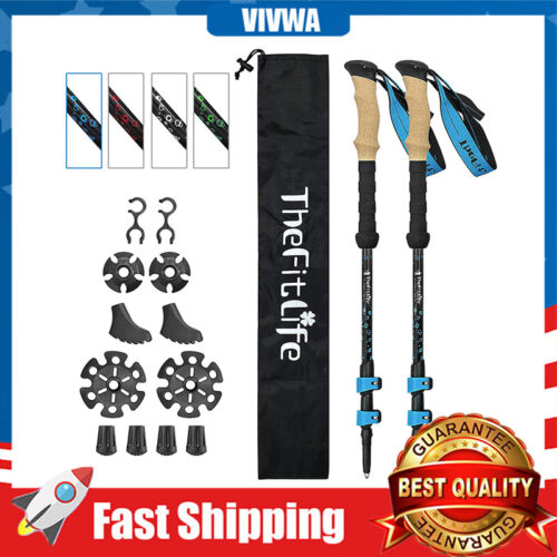 Carbon Fiber Trekking Hiking Walking Poles Collapsible Telescopic Ultralight