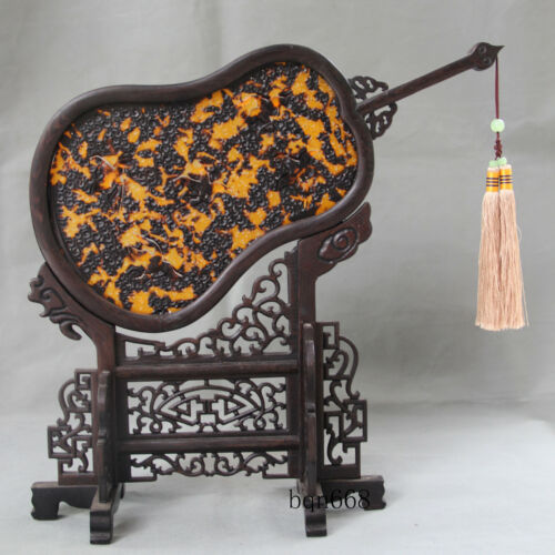 """13/"""" China rare old antique Tortoise shell fans wood screen statue"""