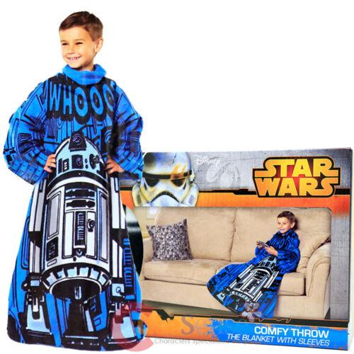 Star Wars Astromech R2D2 Fleece Blanket with Sleeves Kids Size Cozy Throw
