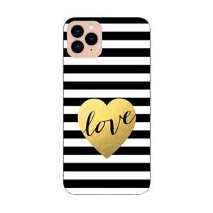 Coque Iphone 12 PRO MAX raye love noir blanc