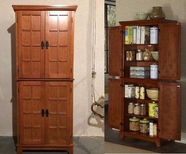 Tall Kitchen Pantry Solid Wood Storage Cabinet Cupboard Organizer Bath Dark  Oak