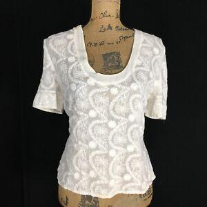 Robert-Graham-10-Large-Top-Blouse-Rayon-Crop-Embroider-Scoop-White-Boho-India
