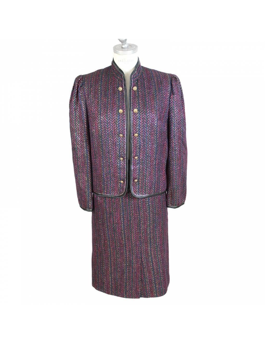 Jenuesse Kleid Komplett Rock Wolle Jacke Vintage Violett