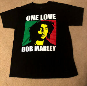 648b7836ca6e05 Bob Marley One Love Mens Black T-Shirt Size L Large Reggae Zion ...