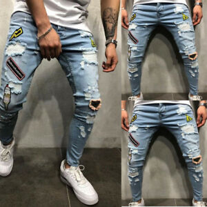Men-039-s-Ripped-Skinny-Biker-Jeans-Destroyed-Frayed-Slim-Fit-Denim-Pants-Trousers