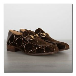 f89855938 GUCCI 850$ Authentic New Horsebit Loafers In GG Brown Velvet With ...