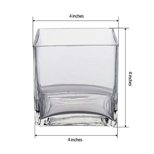 """4/"""" wide Clear Cube GLASS VASE Wedding Party CENTERPIECES Supplies Dinner SALE"""