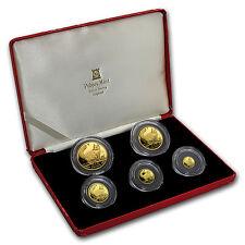 1991 Isle of Man 5-Coin Gold Norwegian Cat Proof Set - SKU #59941