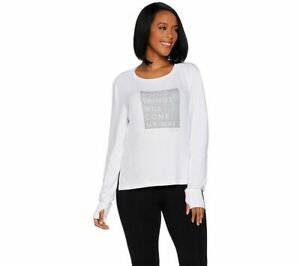 Peace-Love-World-Scoop-Neck-Affirmation-Comfy-Knit-Top-White-XL-A296691