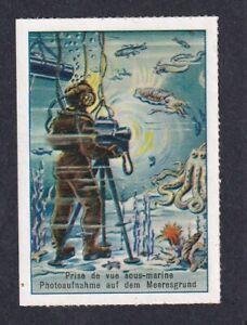 Switzerland Poster Stamp  VINTAGE PHOTOGRAPHY DIVER DIVING CAMERA PHOTO