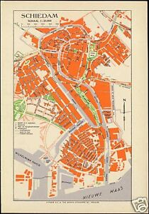Details about netherlands, SCHIEDAM, City Town Detailed MAP Postcard