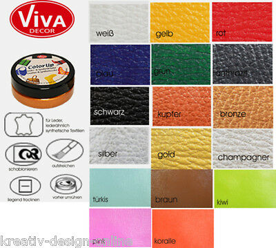 Color Up Lederfarbe  und Synthetikfarbe 50ml (100ml= 11,90 €) Viva Decor Farbwah