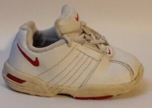 Image is loading Nike-Toddlers-Girls-Boys-White-Red-Leather-Sneakers-