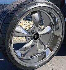 "20"" Chrome Deep Dish Bullitt Style Wheels Tires 20x8.5 20x10 5x114.3 Rims 05-17"