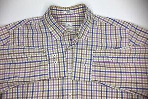 Peter-Millar-Weekender-Mens-M-Shirt-Button-Front-Long-Sleeve-Plaid-Brown-Purple