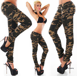 Women-039-s-camouflage-Jeans-hipsters-Jeans-zips-Military-Style-Pants-Size-6-14-HOT