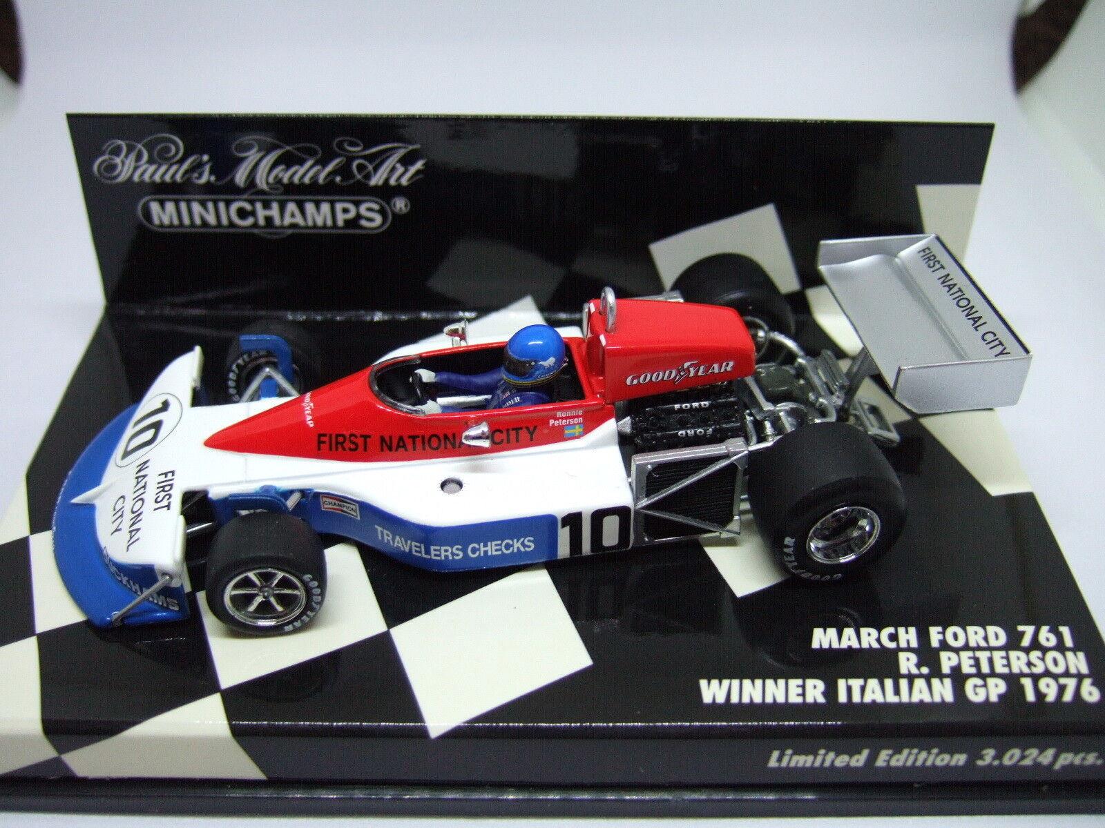 Minichamps Ronnie Peterson marzo Ford 761 italiano GP ganador 1976 1 43
