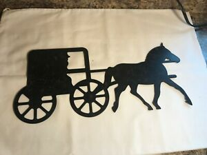 Vintage Victorian Horse and Buggy Silhouette Metal Art ... |Metal Horse And Buggy Silhouette