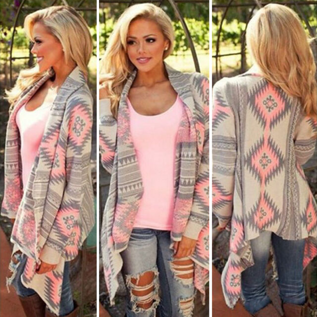 Womens Waterfall Cardigan Casual Poncho Jumper Top Loose Long Sleeve Jacket Coat