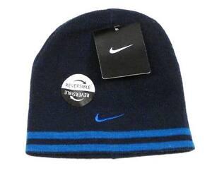 3c9e019853e62 Nike Reversible Navy Blue   Royal Blue Knit Beanie Skull Cap Boy s 4 ...