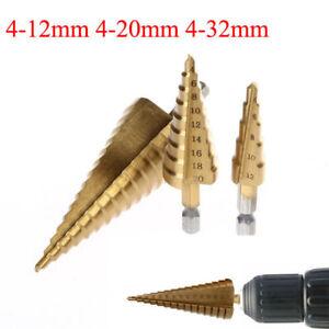 3PCS-4-32mm-HSS-Fraise-Foret-Forage-a-Etage-Conique-Drill-Bit-Percage