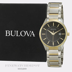 Authentic-Bulova-Men-039-s-Two-Tone-Stainless-Steel-Black-Dial-Watch-98B290