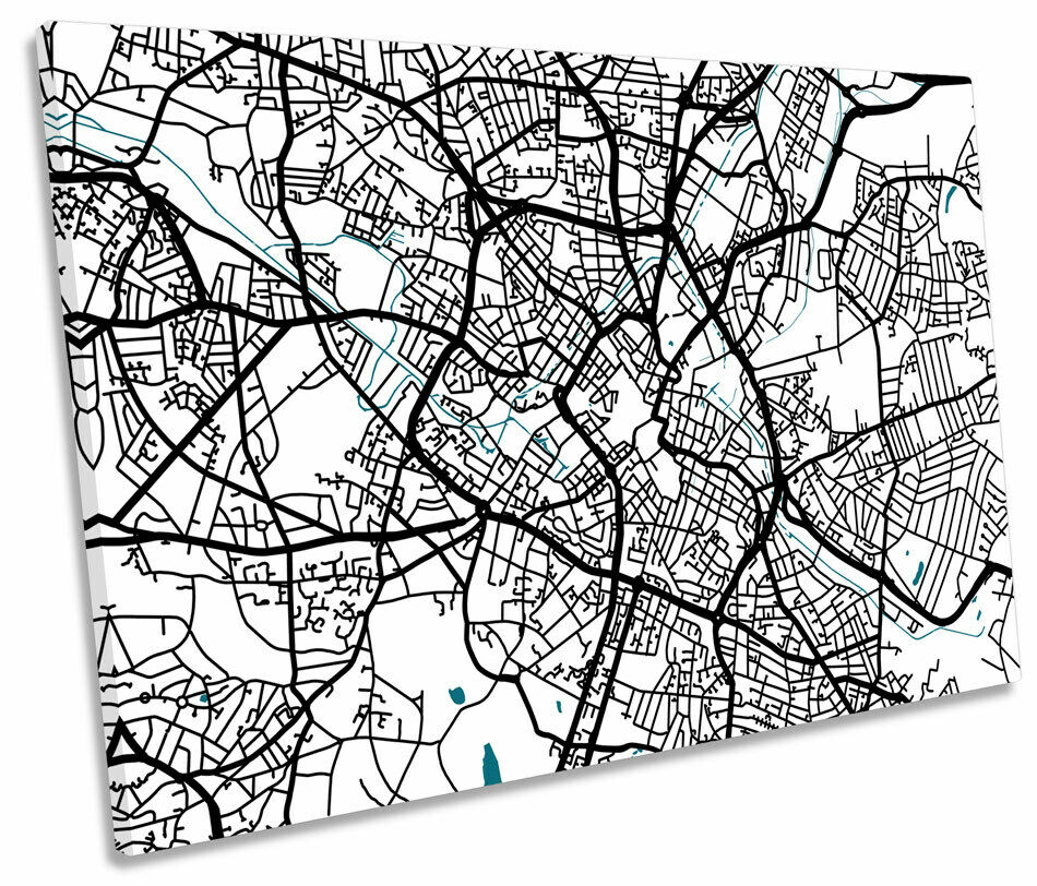 Birmingham Map City England Minimalistic SINGLE CANVAS WALL ART Picture Print