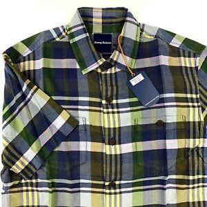 Tommy-Bahama-Camp-Shirt-Casa-Plaida-Sanibel-Blue-100-Silk-T317726-New-Medium-M
