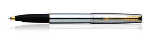 Parker Frontier Steel GT Roller Ball RB Pen Gold Trim Rollerball Blue Ink New