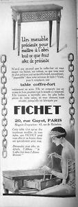 PUBLICITE-DE-PRESSE-1925-FICHET-LA-TABLE-COFFRE-FORT-UN-MEUBLE-PRECIEUX