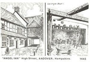 Art-Sketch-Postcard-Angel-Inn-High-Street-Andover-Hampshire-by-Don-Vincent-AS1