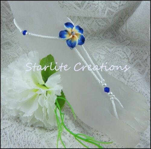 1 pair BEACH BRIDAL Barefoot Sandals ROYAL BLUE diamante Frangipani flower
