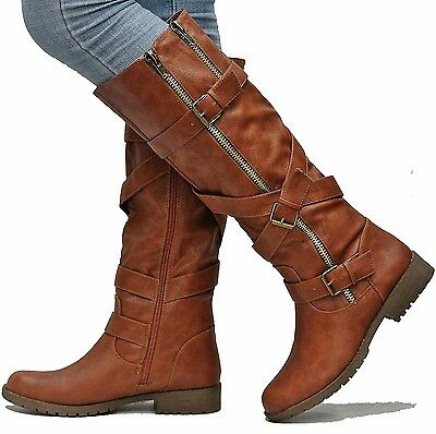 New Women ESo Tan Cognac Knee High Riding Boots  Western Buckle Straps