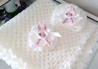 Hand crochet blanket and hat newborn/reborn baby set