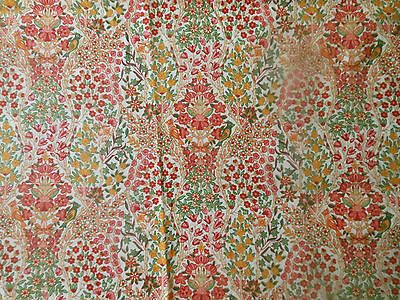 RVSD~ Vtg Floral Bird Cotton Fabric ~ Colorful Small Scale Liberty look floral