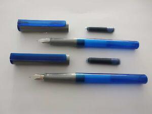2-x-Fueller-Schulfueller-blau-von-Convex-mit-Edelstahlfeder-M-NEU