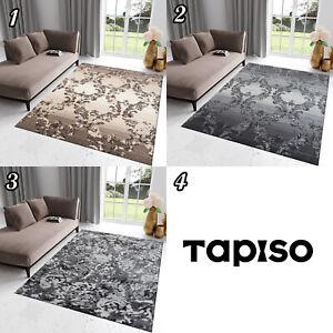Teppich-Kurzflor-Beige-Grau-Vintage-Rechteckig-Designer-Wohnzimmer-NEU